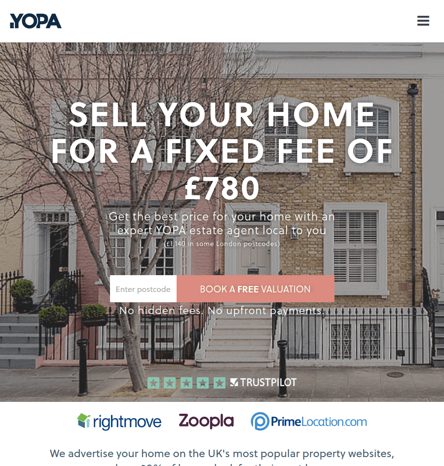 YOPA-real-estate-landing-page